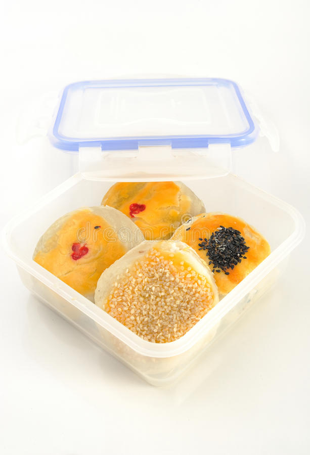 Chinese cakes in take away box, asian style pastry.