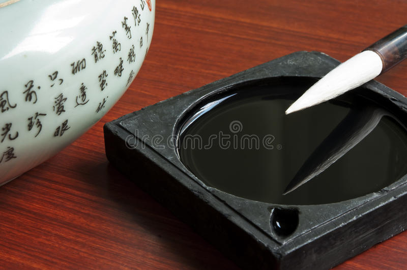 Download Chinese calligraphy stock image. Image of paintbrush - 20591035