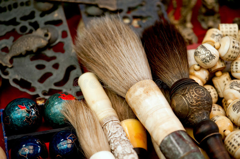 Chinese calligraphy brushes. Traditional Chinese calligraphy brushes on display at a market in Xian stock image