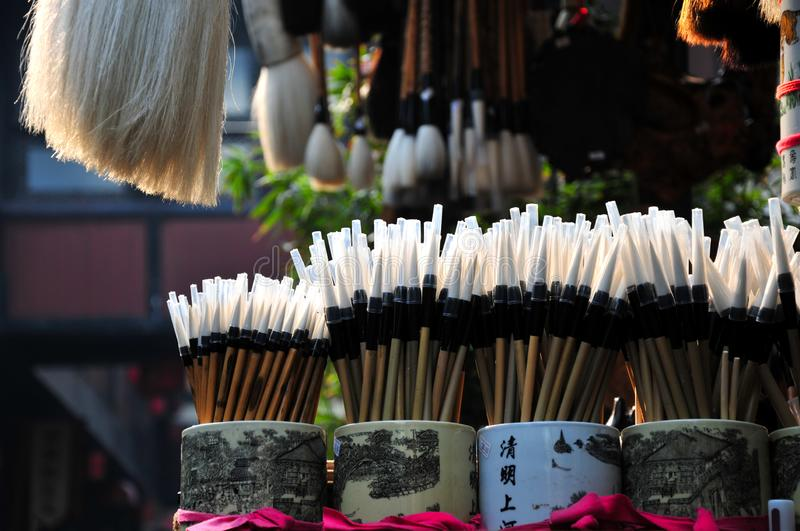 Chinese calligraphy brushes. For sale in the Jinli ancient town,Chengdu,China stock photography