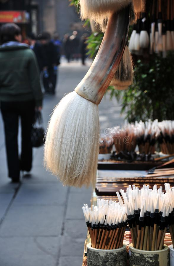 Chinese calligraphy brushes. For sale in the Jinli ancient town,Chengdu,China royalty free stock photo