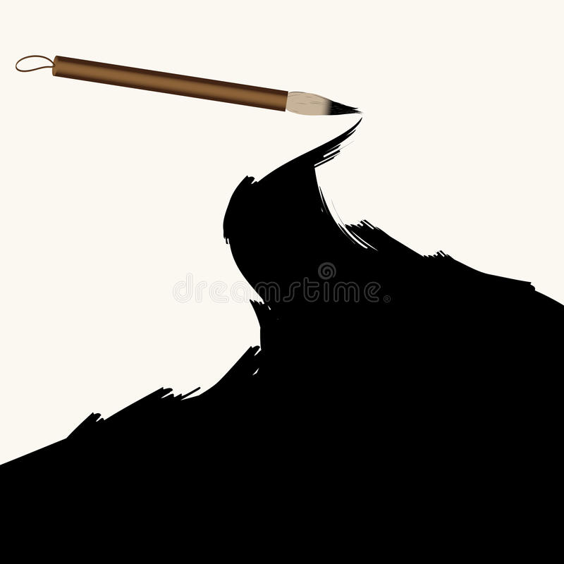 Chinese calligraphy ink brush grunge vector illustration