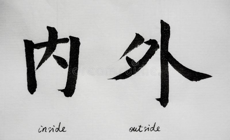 Chinese Calligraphy means`inside outside` for Tatoo. Written by myself, on white background stock image