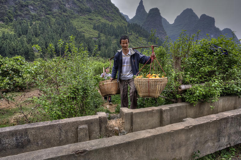 Chinese carrying pole over shoulder with baskets of oranges hang royalty free stock photo