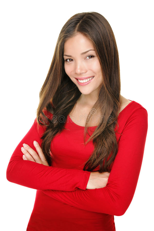 Chinese / Caucasian Woman Smiling Portrait Royalty Free Stock Photography