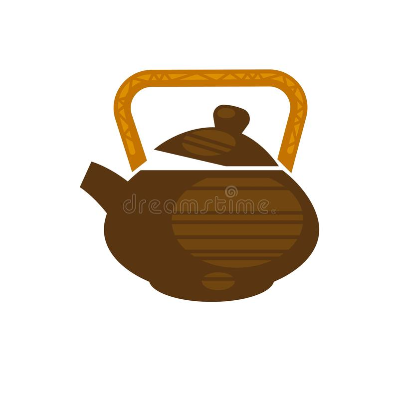 Chinese ceramic teapot for tea time vector flat icon. Ceramic or clay teapot in Chinese style with handle. Brewed green or black tea drink icon for teahouse cafe vector illustration