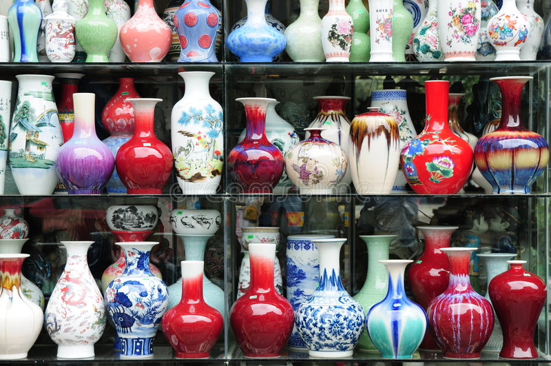 The Chinese ceramic vases royalty free stock photography