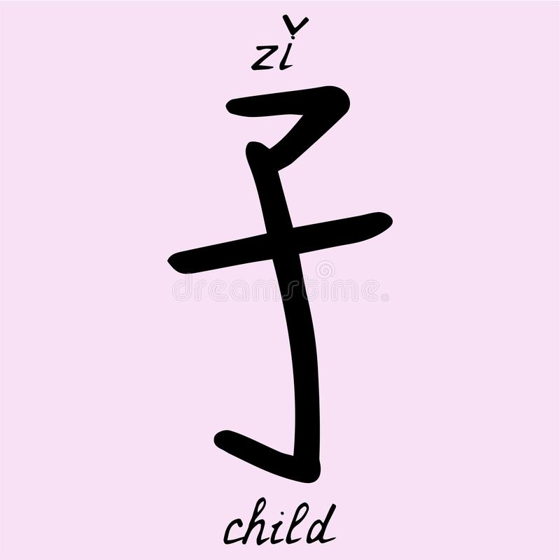 Chinese Character Child With Translation Into English Stock Vector