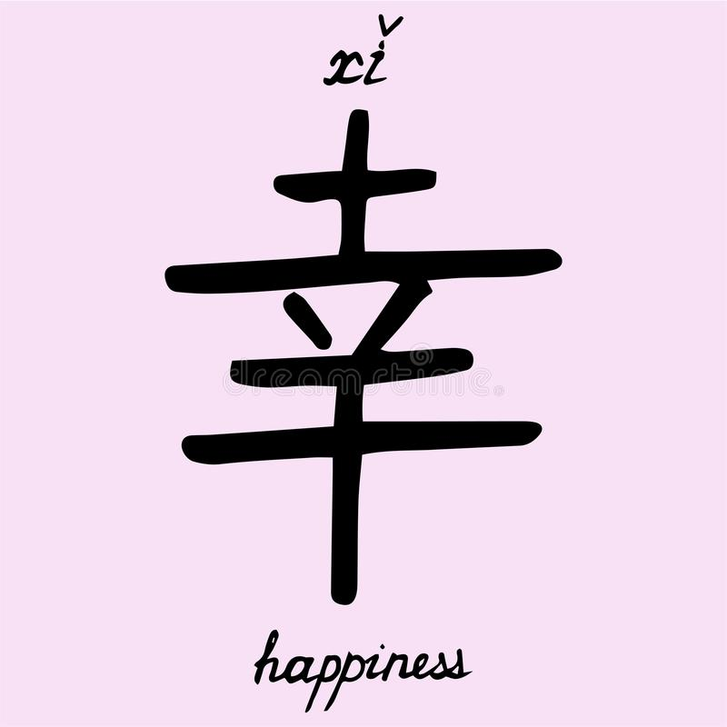 Chinese Character Happiness With Translation Into English Stock