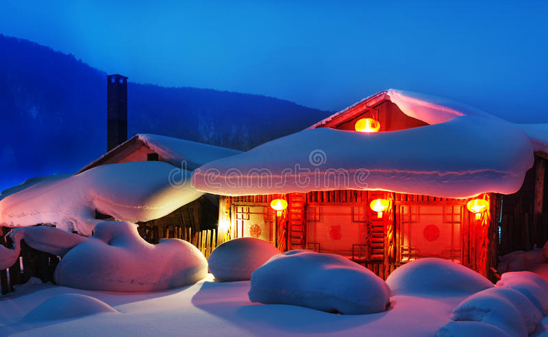 Chinese characteristic farmhouse snowscape royalty free stock images