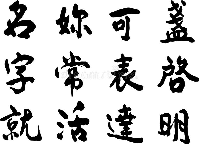 Chinese Characters. On white background royalty free illustration