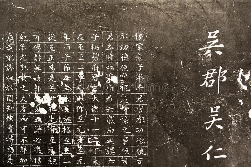 Chinese characters carved stock images