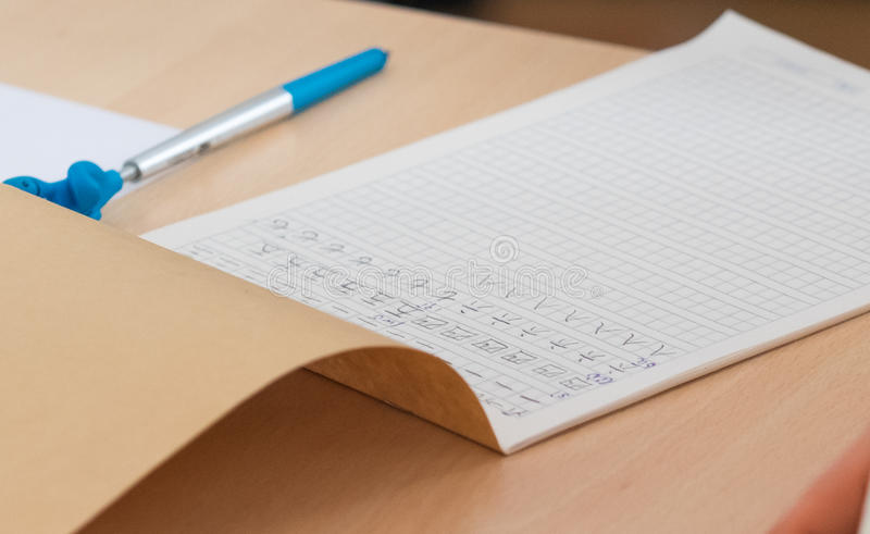 Chinese characters in practice notebook stock photos
