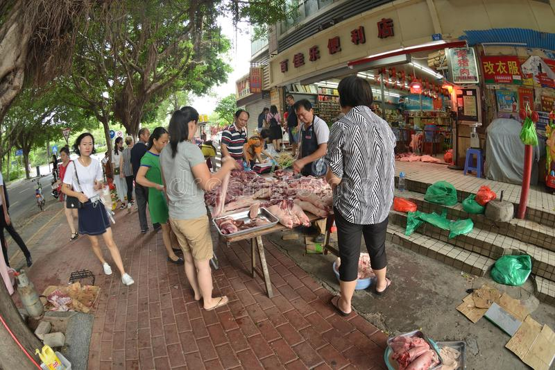 Chinese charcuterie Market selling street view stock photography