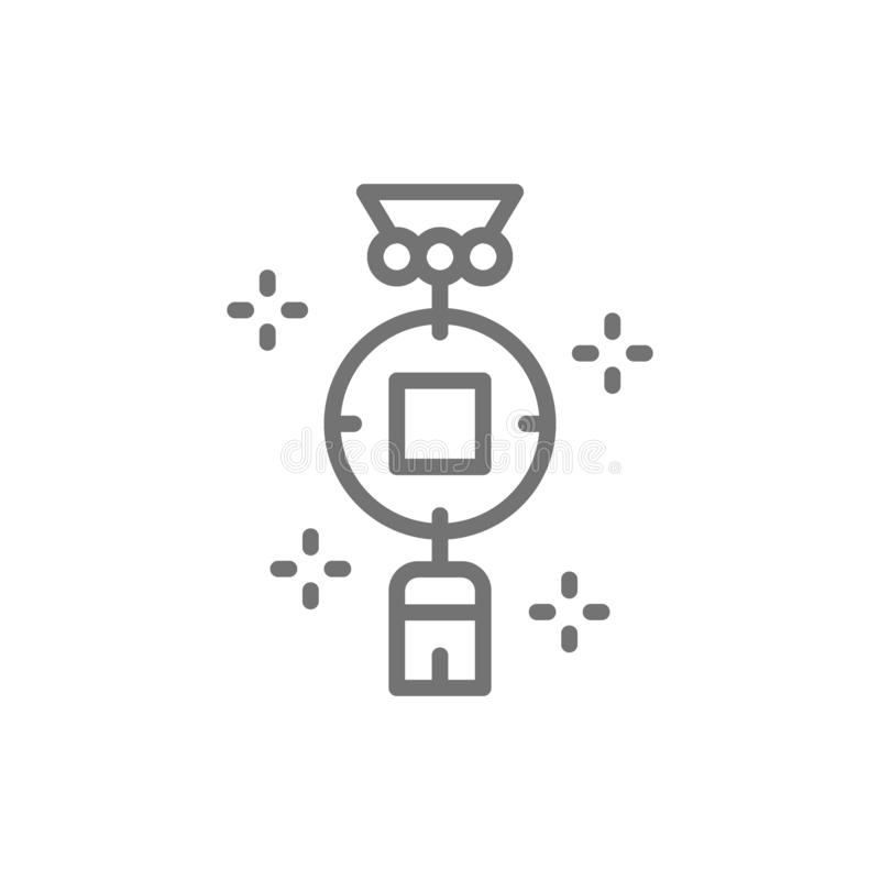 Chinese charm, feng shui coin line icon. vector illustration