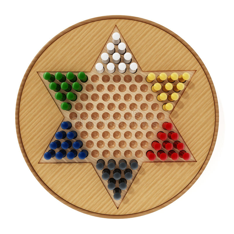 Chinese checkers board and pawns isolated on white background. 3D illustration.  stock illustration