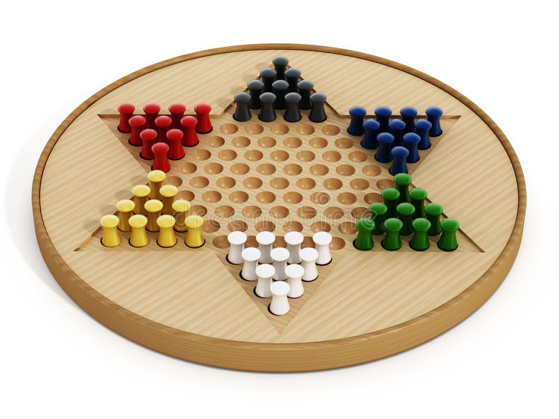 Chinese checkers board and pawns isolated on white background. 3D illustration.  royalty free illustration