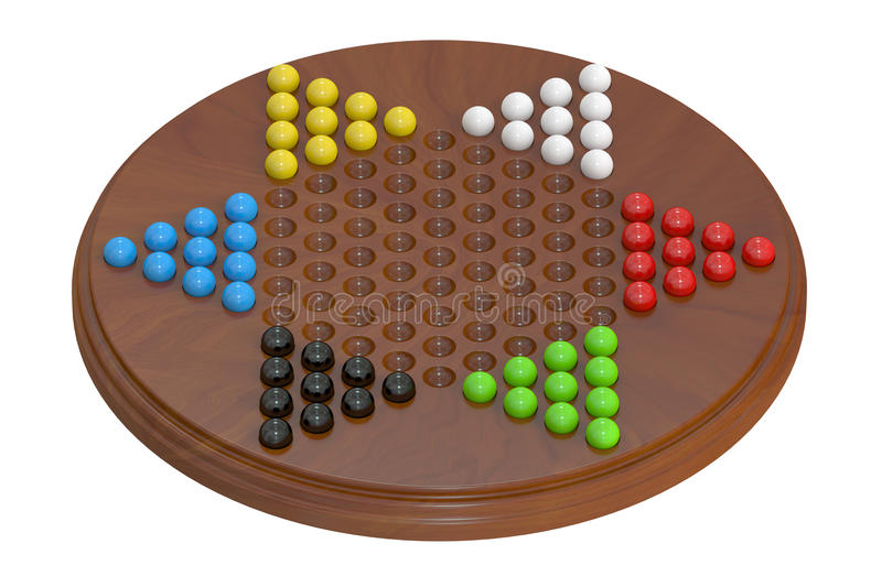 Chinese checkers, 3D. Chinese checkers closeup, 3D rendering stock illustration