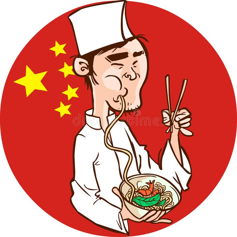 Chinese Chef houdt een kom vol Chinese noodle & Spring Roll royalty-vrije illustratie