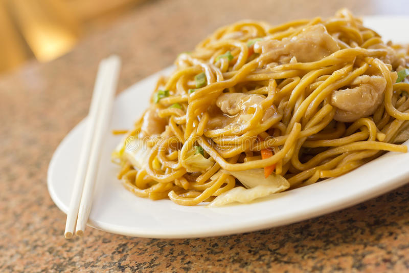 Chinese Chicken Lo Mein. Delicious chinese food, chicken Lo Mein stir fry royalty free stock photo