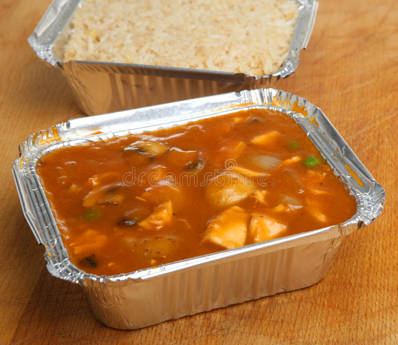 Chinese Chicken Takeaway Meal & Rice royalty free stock photo