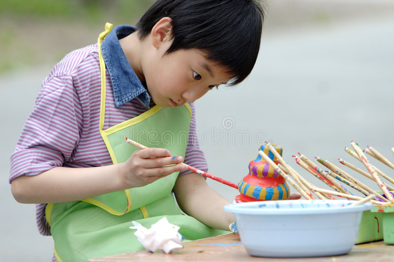 chinese child drawing royalty free stock photo