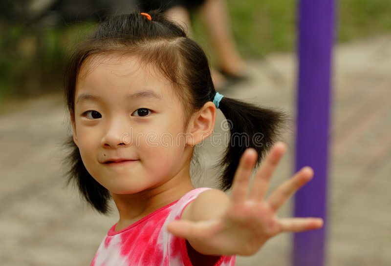 chinese child hand stop stock images