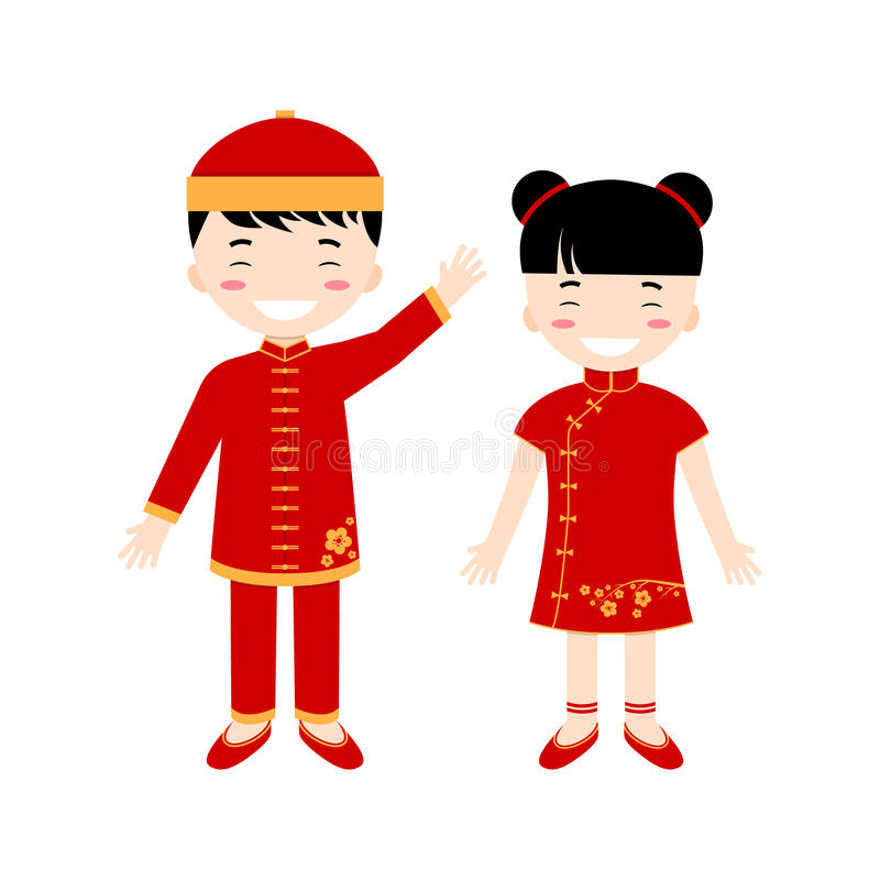 Chinese children - boy and girl isolated on the white background. Vector illustration stock illustration