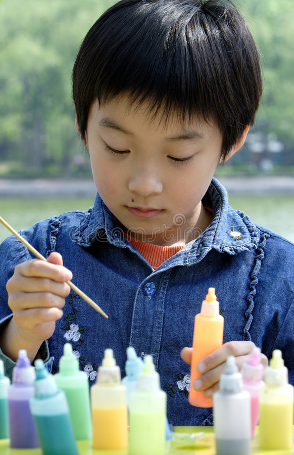 chinese children painting royalty free stock photos