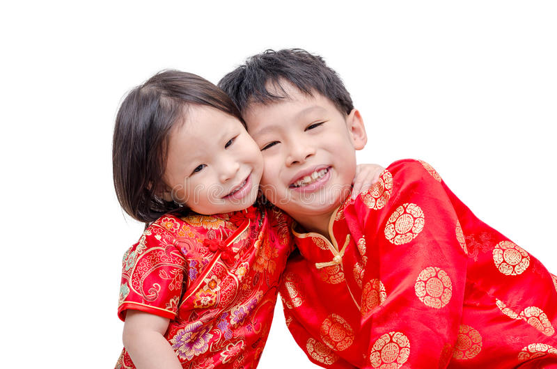 Chinese children in traditional costume royalty free stock images