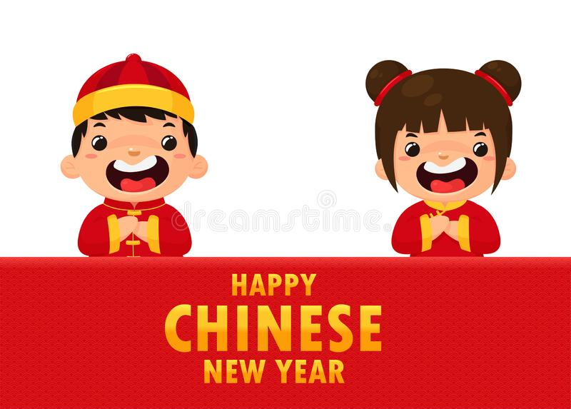 Chinese children wearing national costumes Saluting for the Chinese New Year festival stock photography