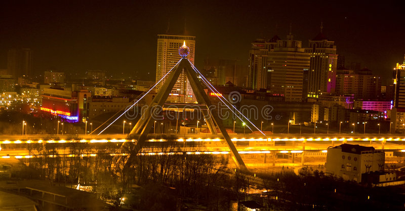 Chinese city at night stock images