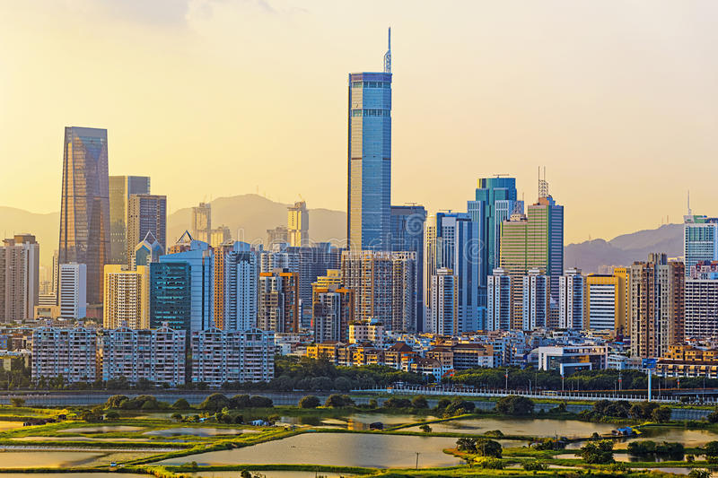 Chinese city at sunset royalty free stock images