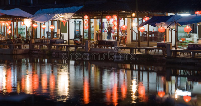Chinese city Zhouzhuang at the night royalty free stock images