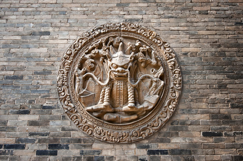 Download Chinese classic brick wall stock image. Image of lion - 20775115