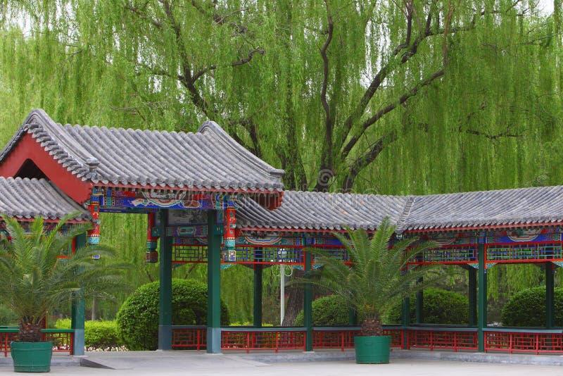 Chinese classic corridor stock photo