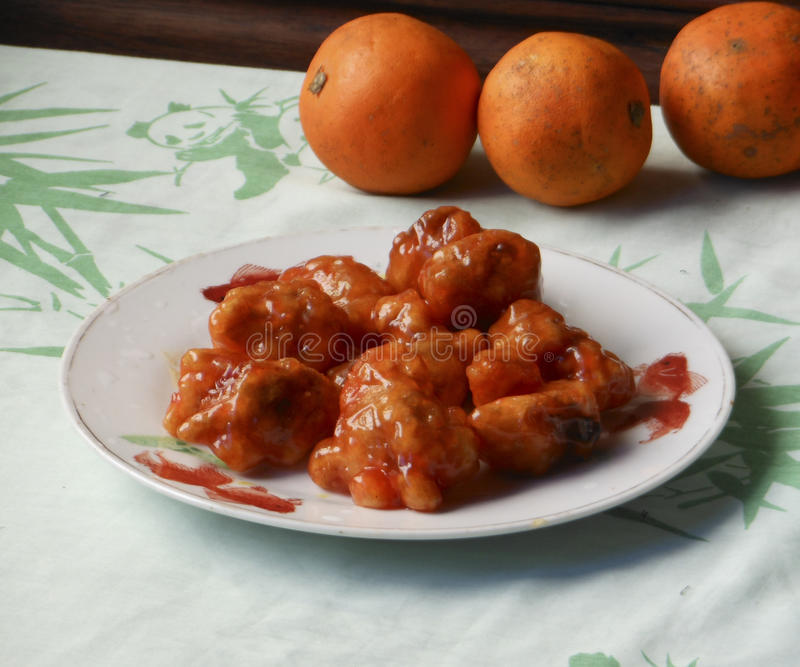 Chinese classic sweet & sour pork stock photography