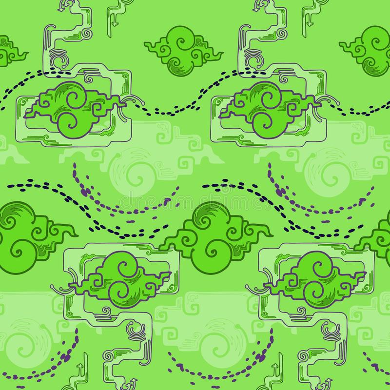 Chinese cloud design with trump trick style with alien green blue tone seamless pattern. Background stock illustration