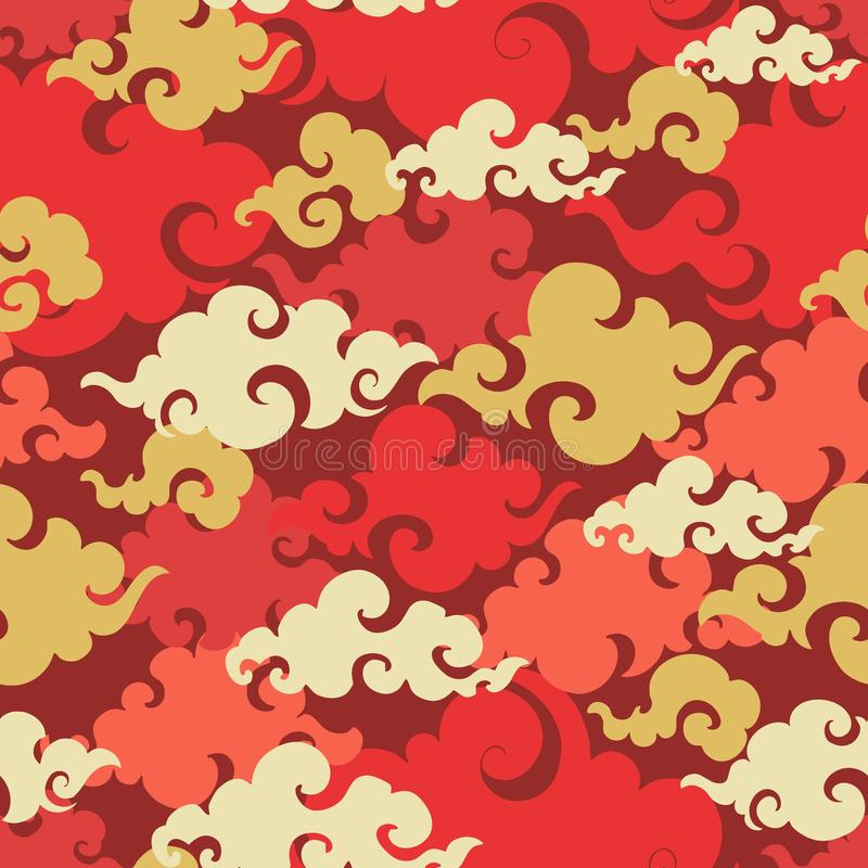 Chinese Cloud or Japanese cloud or Oriental cloud low detail ornament seamless pattern with red and gold theme stock illustration