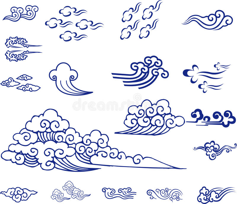 Chinese Cloud material vector illustration