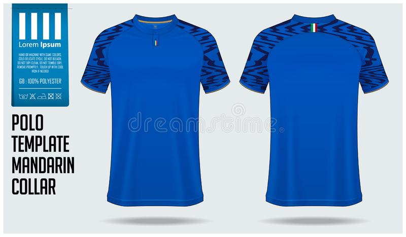 Chinese collar or Mandarin Collar polo shirt mockup template design for soccer jersey, football kit. T-shirt mock up for sport club. Sport uniform in front royalty free illustration
