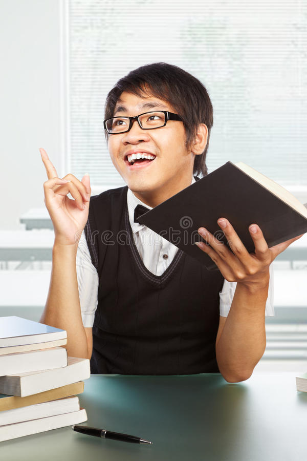 Chinese college male student inspired royalty free stock photography