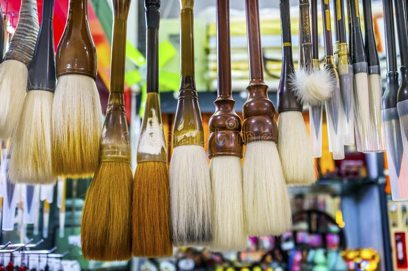 Chinese Colorful Souvenir Ink Brushes Beijing, China. For Calligraphy and painting stock photo