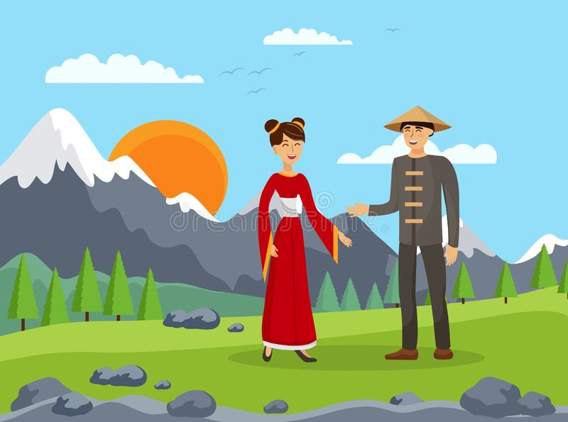 Chinese Couple, Husband and Wife Flat Illustration vector illustration