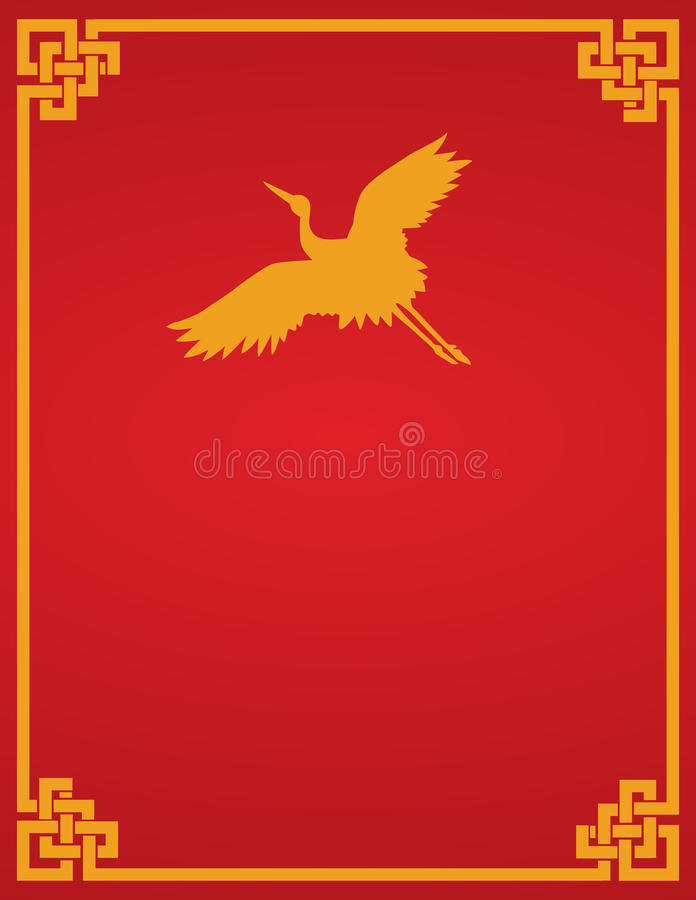 Book Cover Illustration Rates : Chinese crane red background stock vector image