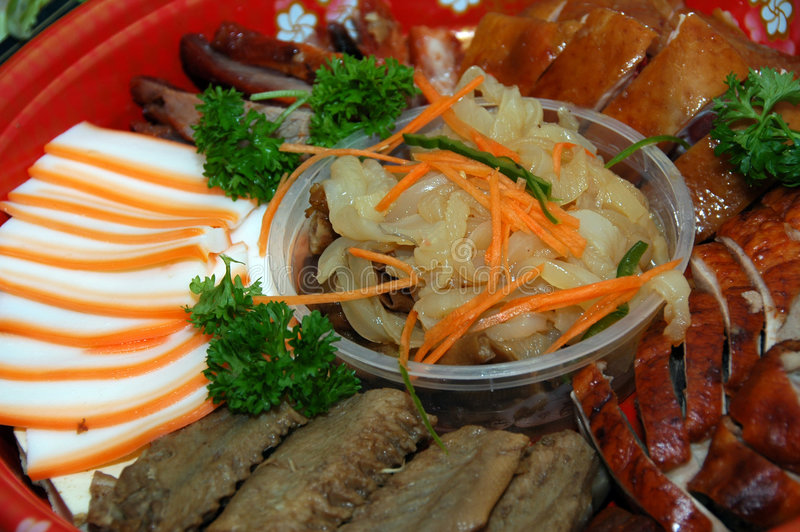 Chinese Cuisine. A meat platter consisting of assorted meats stock images