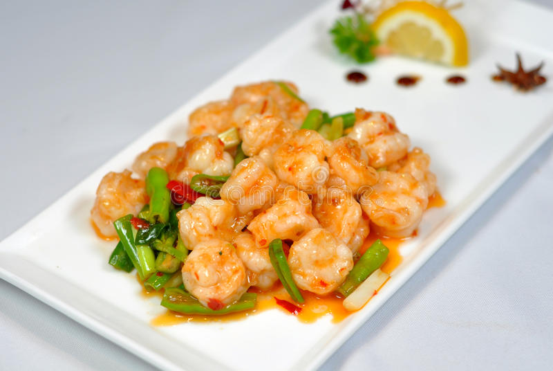 Chinese cuisine - fried shrimp royalty free stock photography