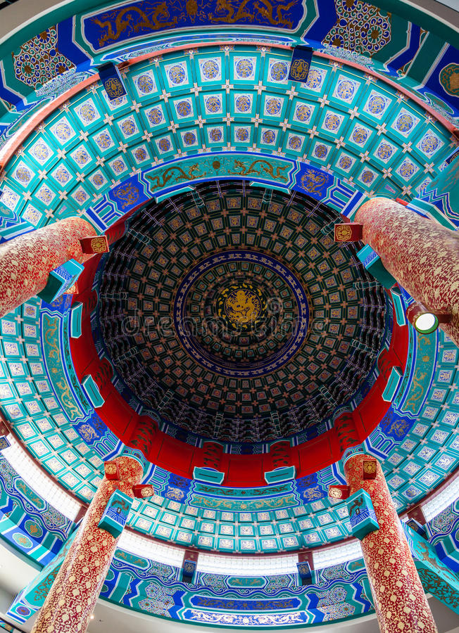 Chinese Cultural Centre, Calgary. Intricate ceiling of Calgary's Chinese Cultural Centre features a 70-ft ceiling design modeled after the Temple of Heaven in royalty free stock photography
