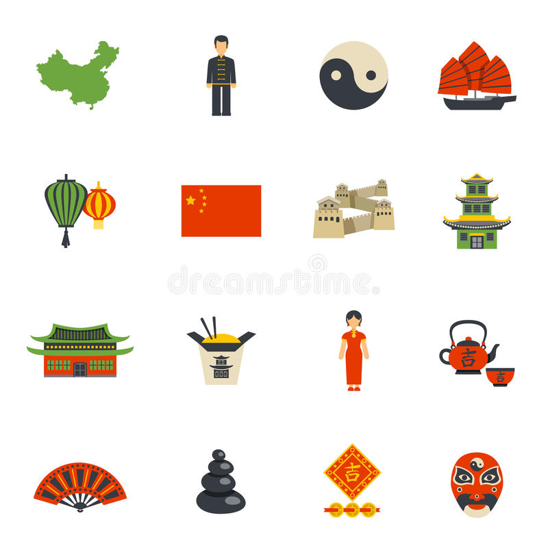 Chinese Culture Symbols Flat Icons Set Stock Vector Illustration