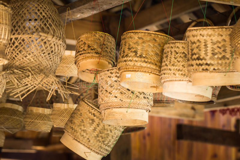 Chinese Dai people's bamboo products stock image